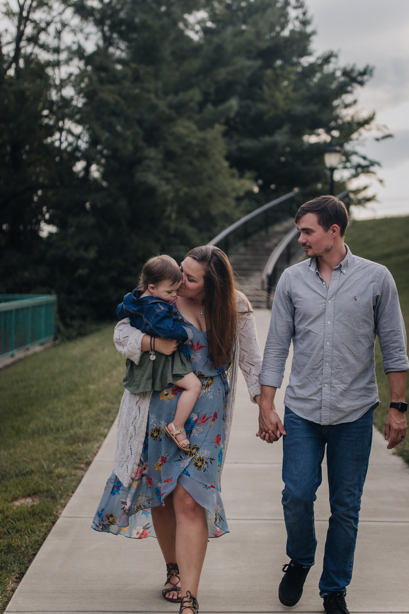 family walking in downtown Clarksville