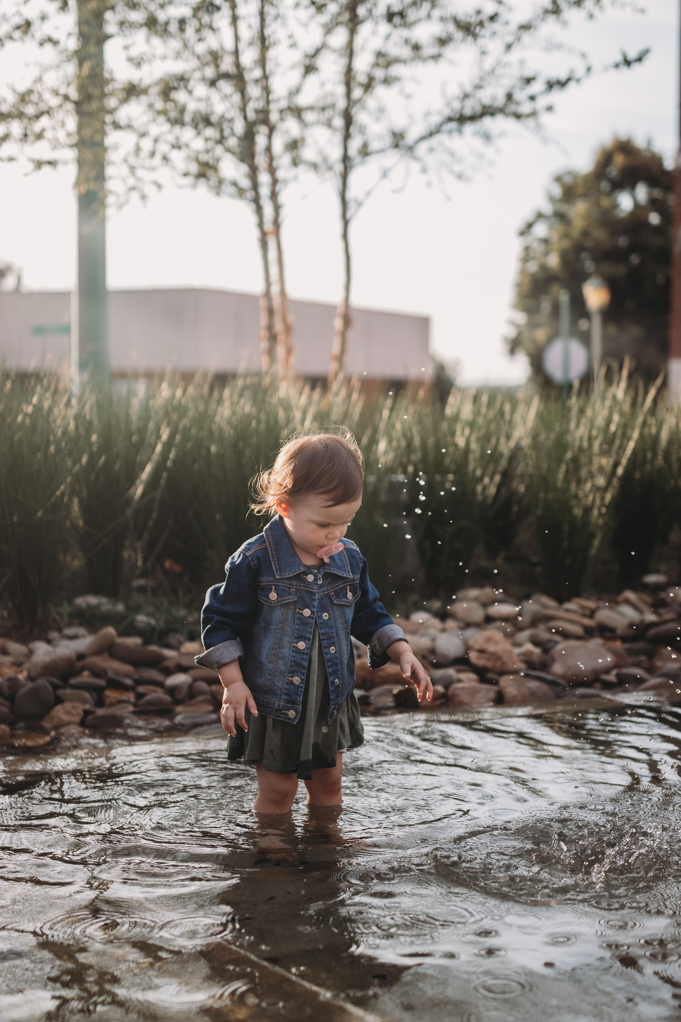 child playing in water