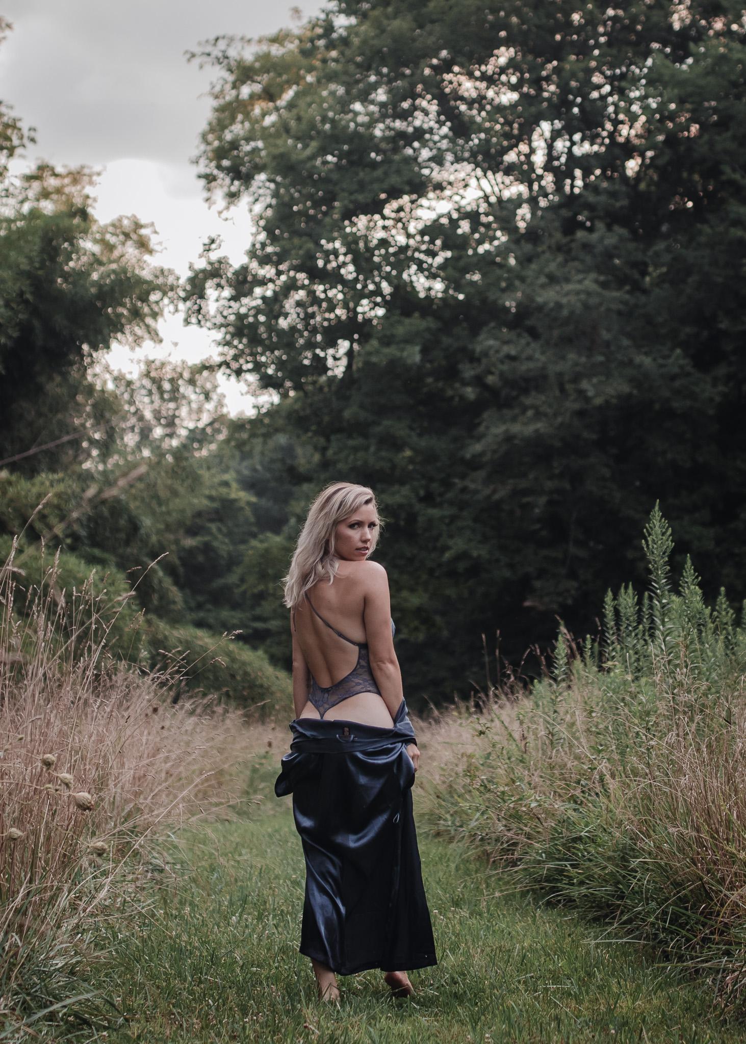 outdoor boudoir girl standing in field