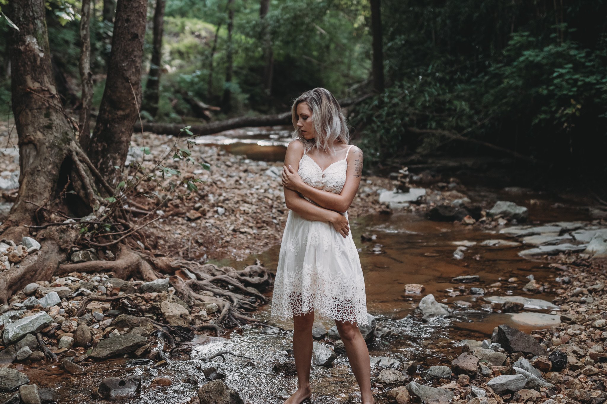 outdoor boudoir in a creek