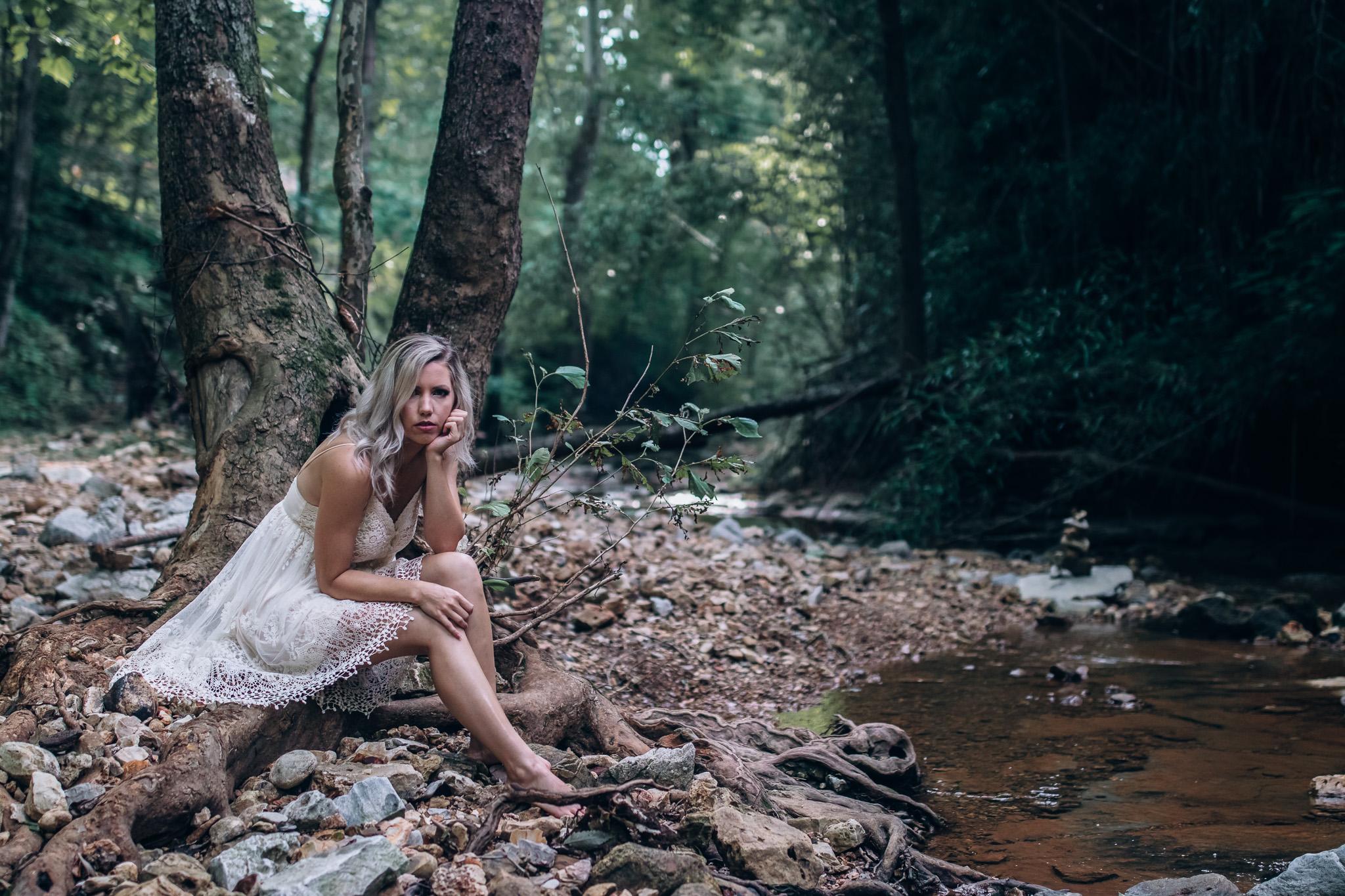 girl sitting outdoor boudoir