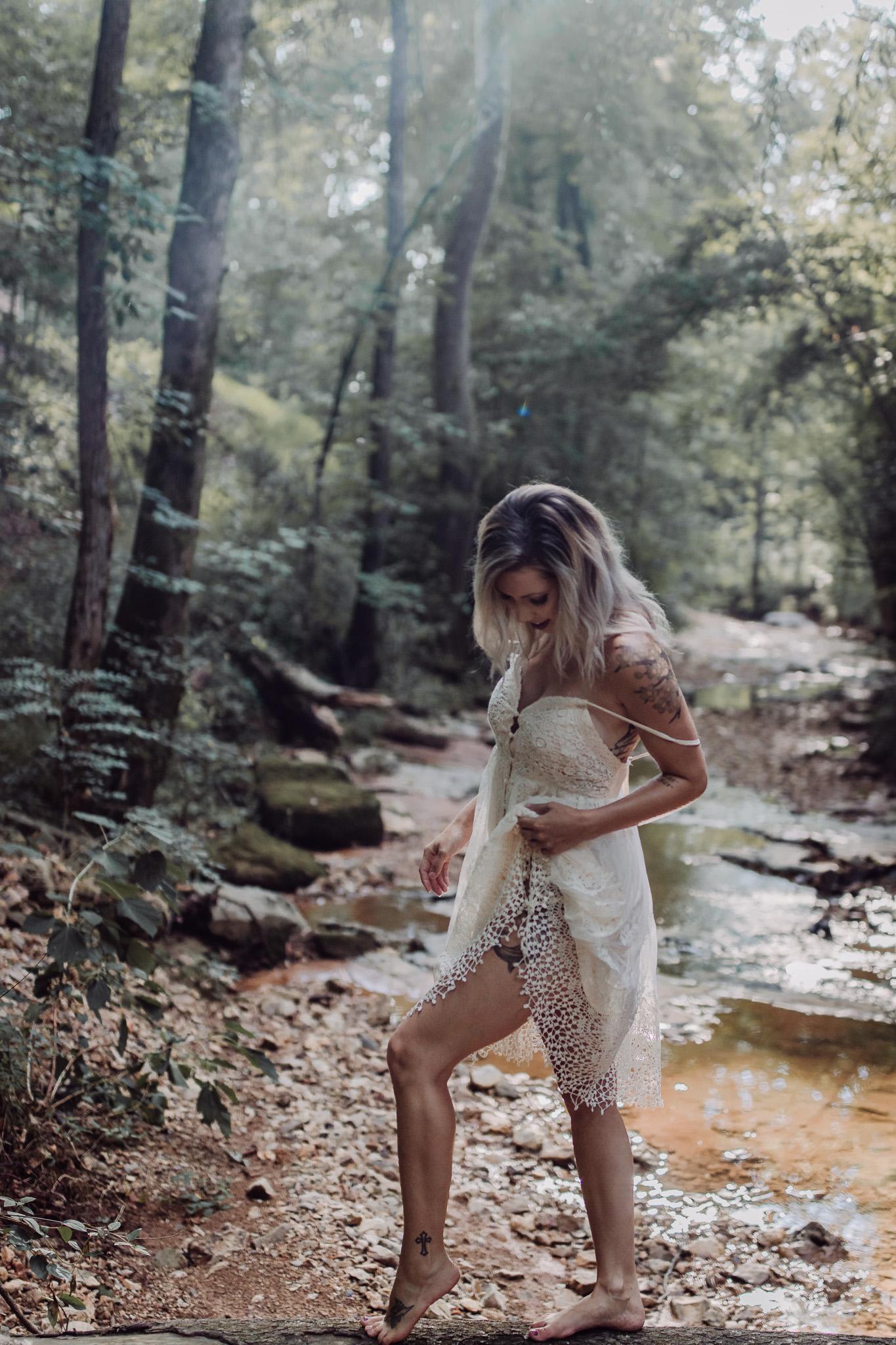 girl in water outdoor boudoir