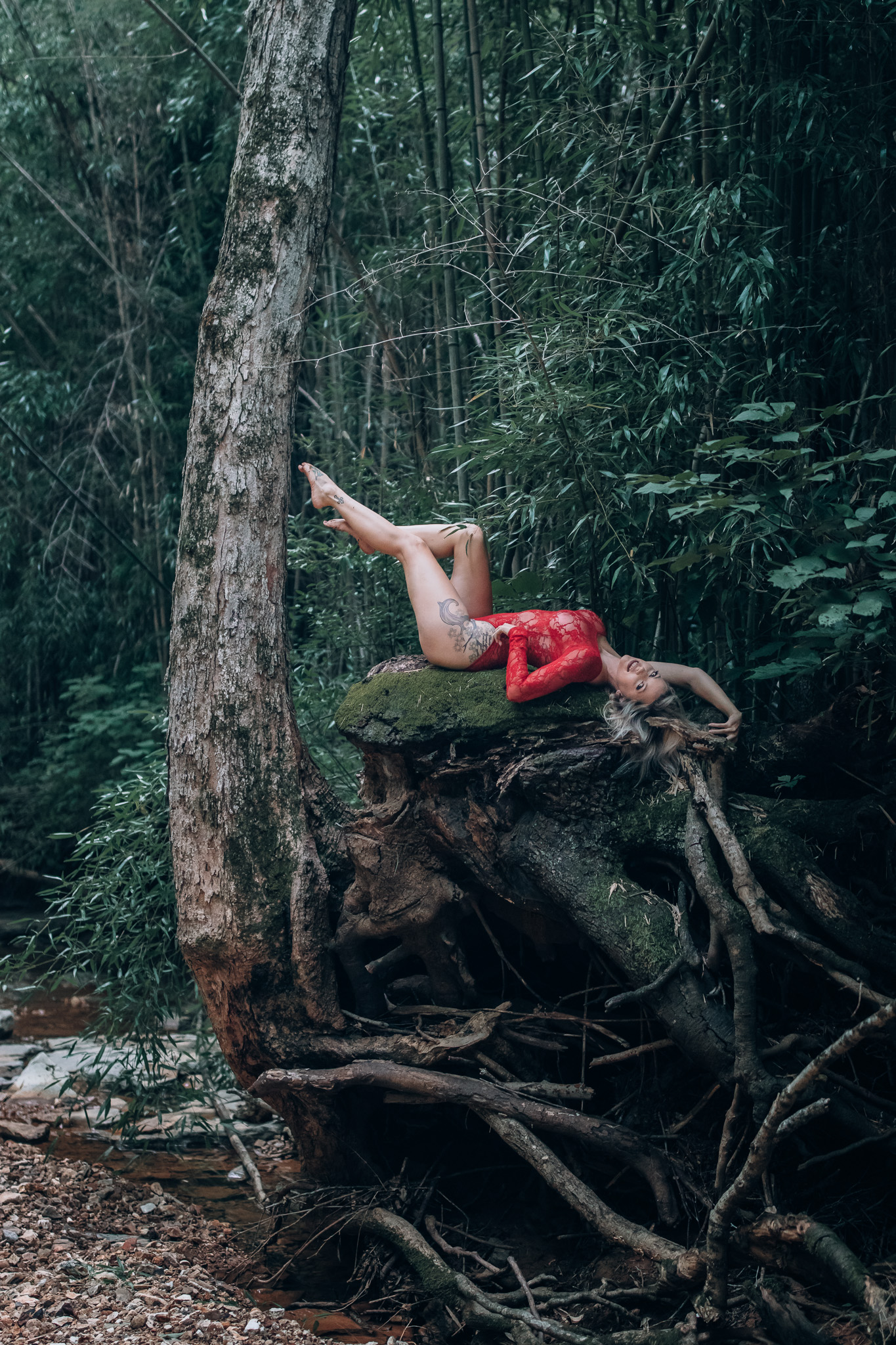 girl laying in tree outdoor boudoir