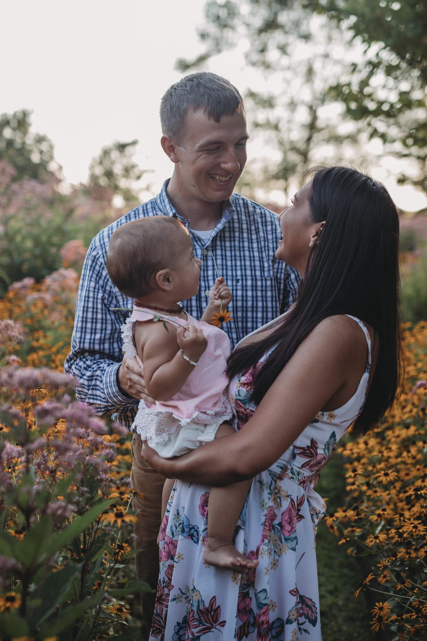 summer family photos in flower fields