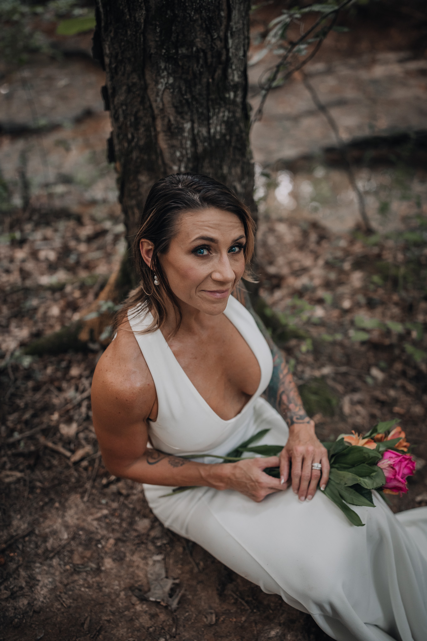 photo of a bride sitting