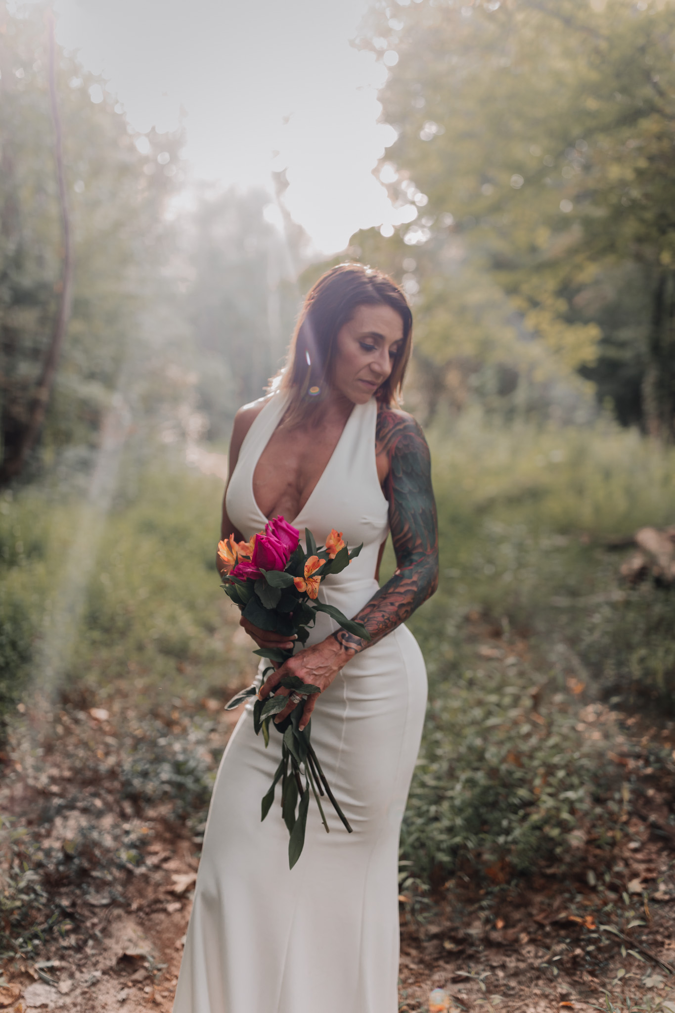 bride in sunlight