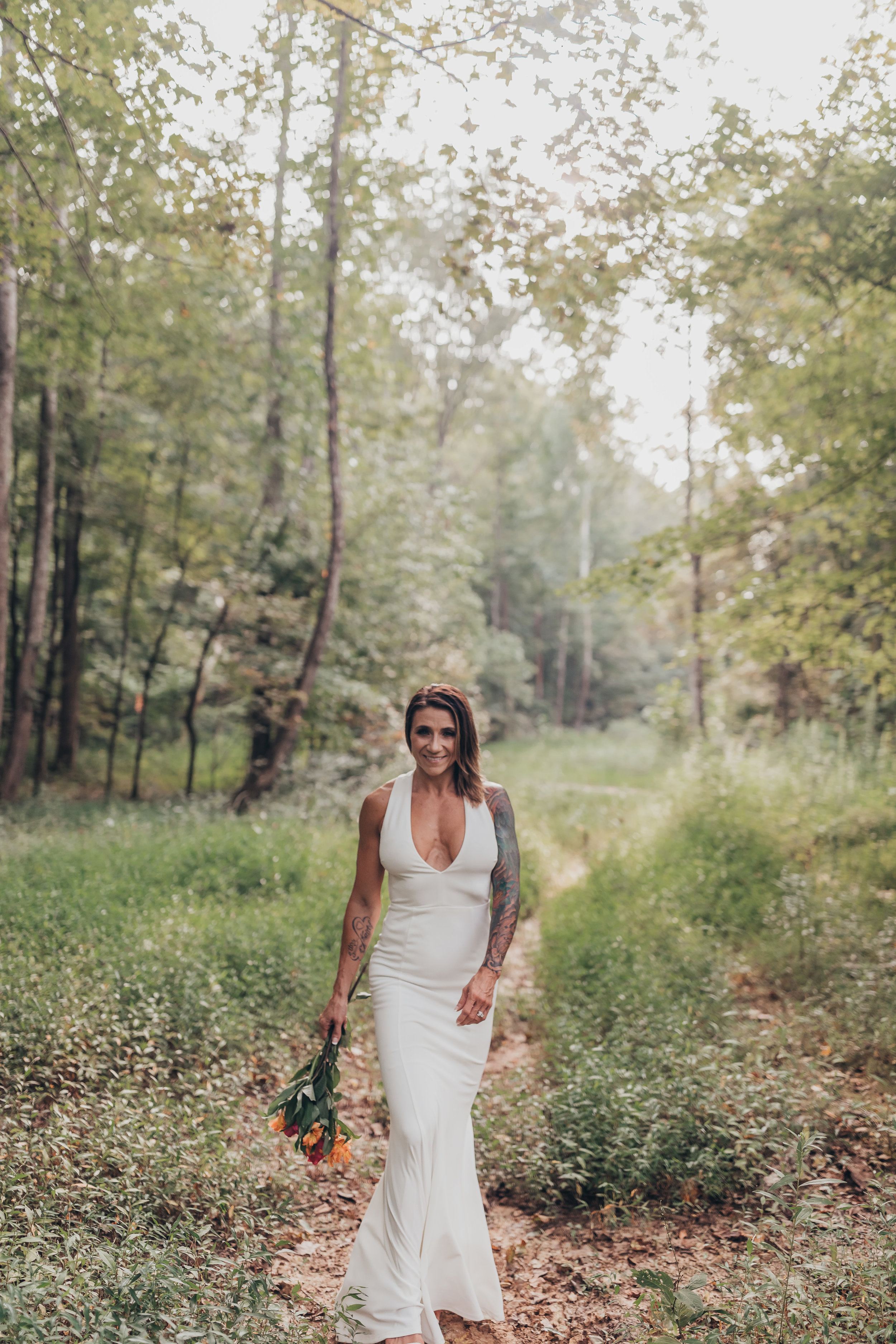 bridal portrait walking