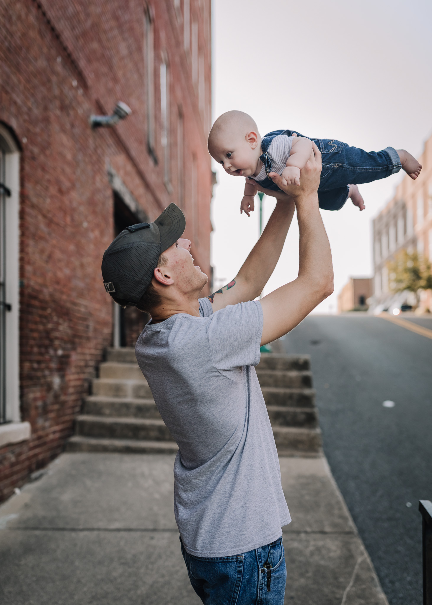 flying baby with dad