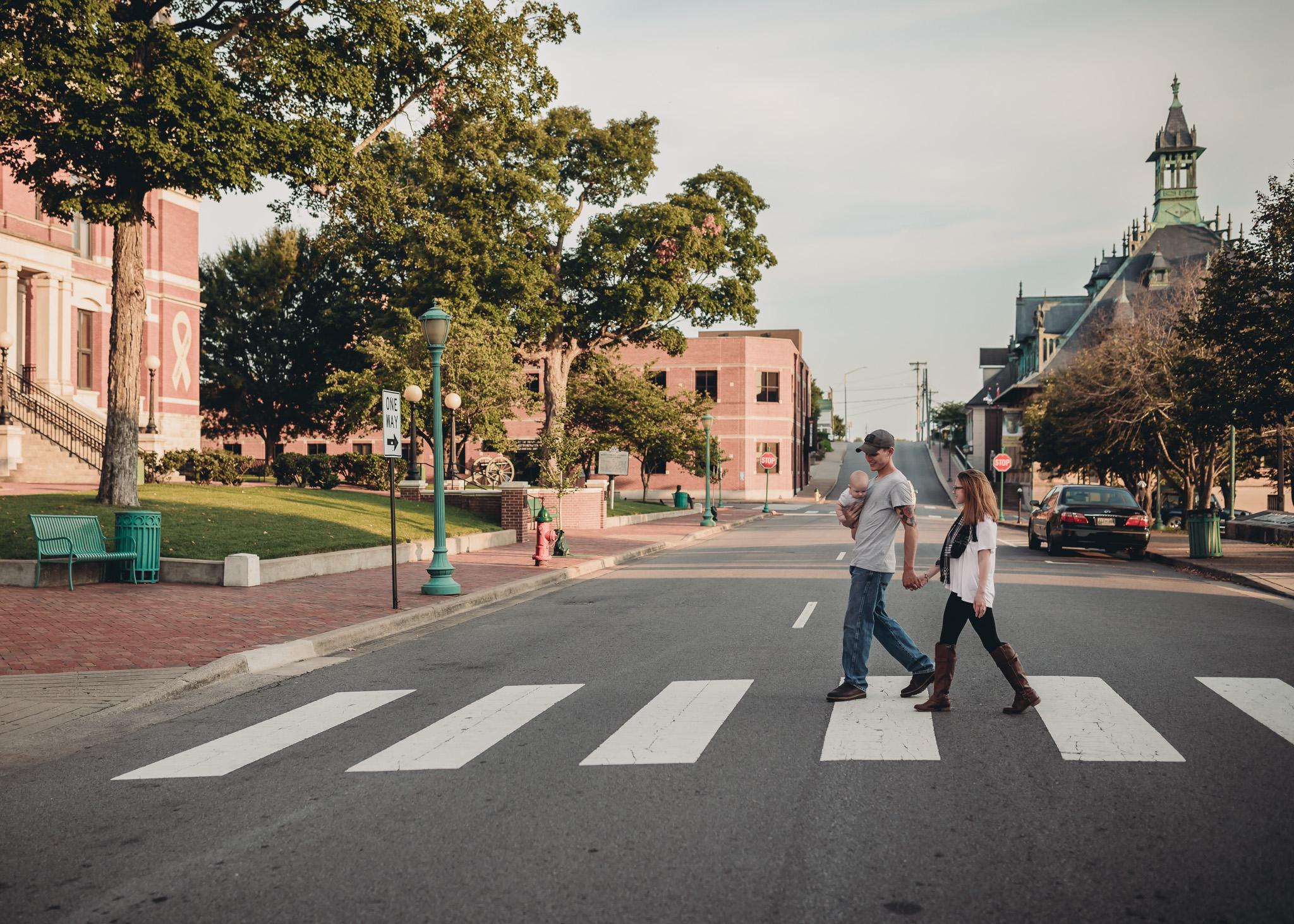 walking family downtown