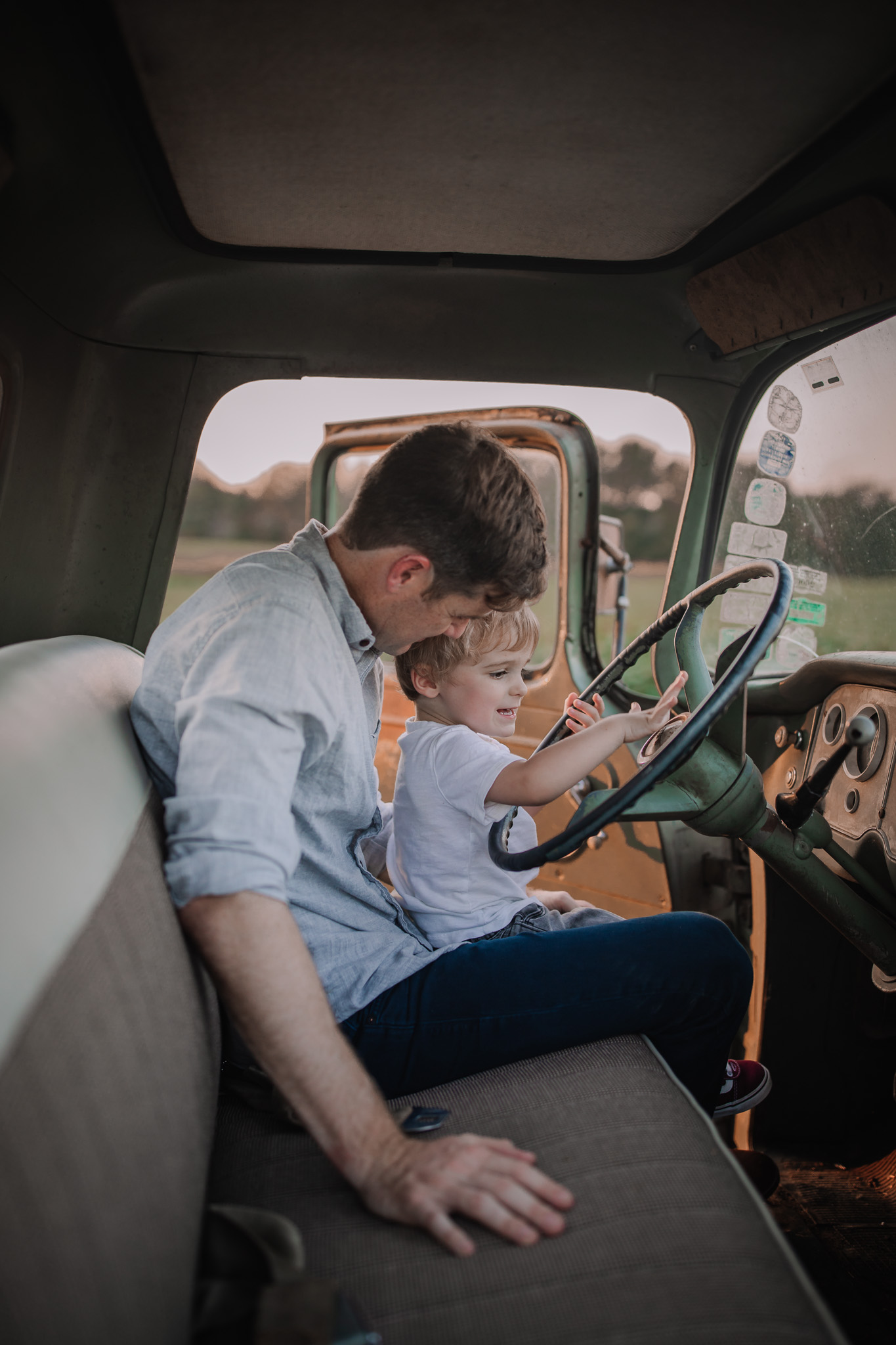 father and son learning to drive