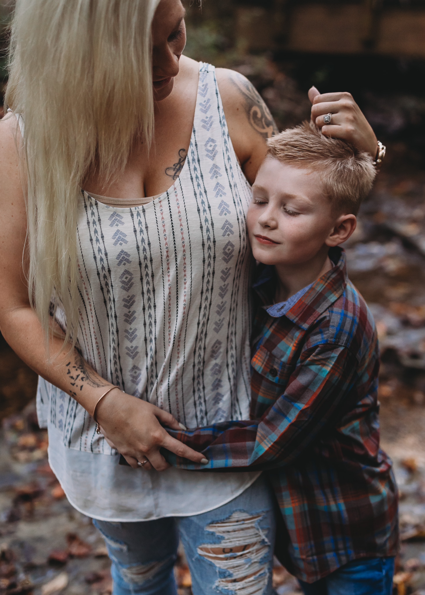 mom brushing sons hair
