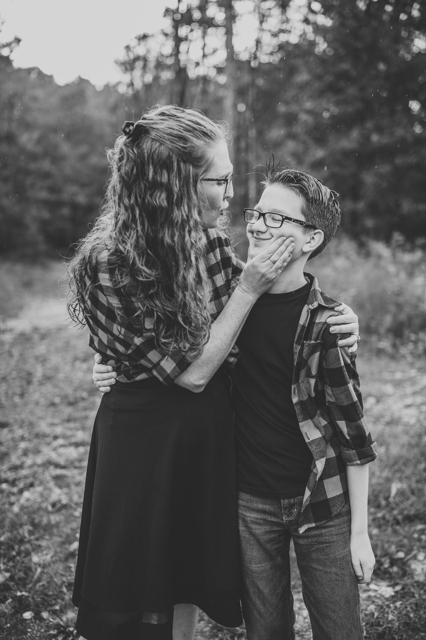 mom and teenage son posing idea