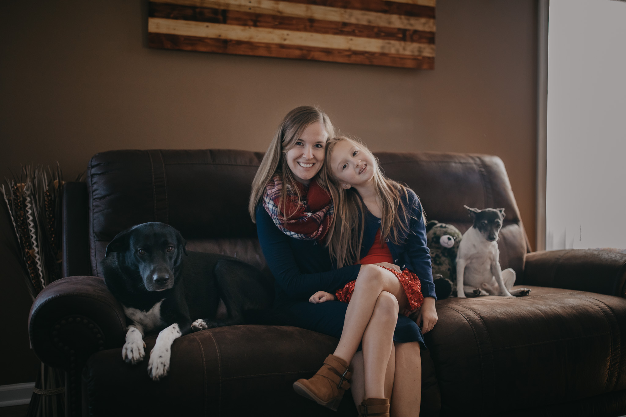 lifestyle session of mom and daughter with dogs