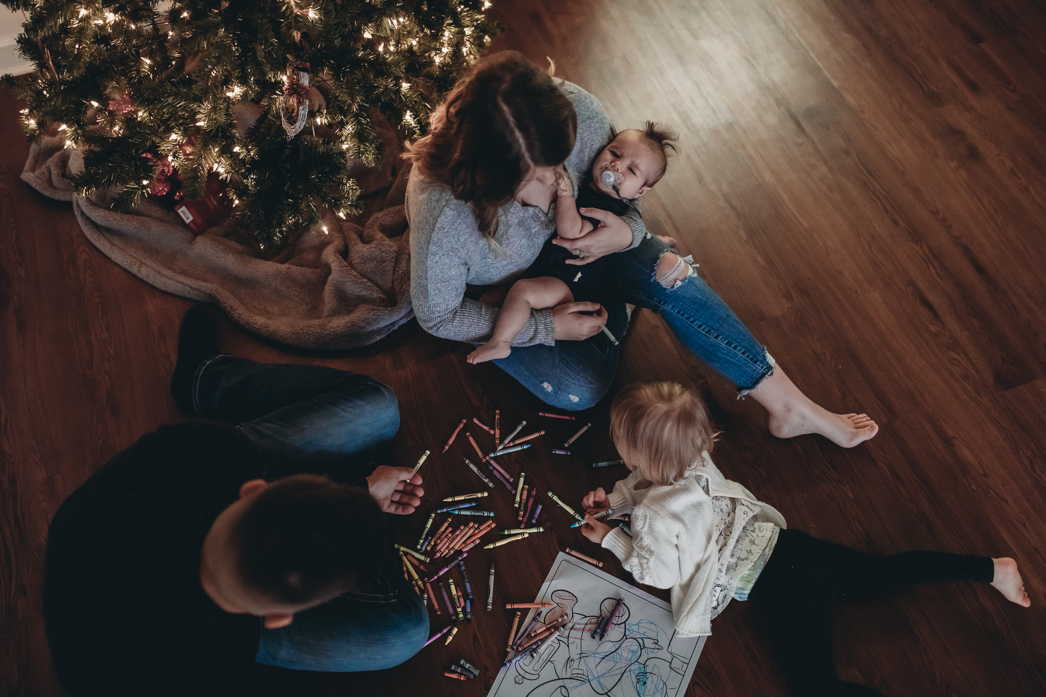 family christmas photos in home