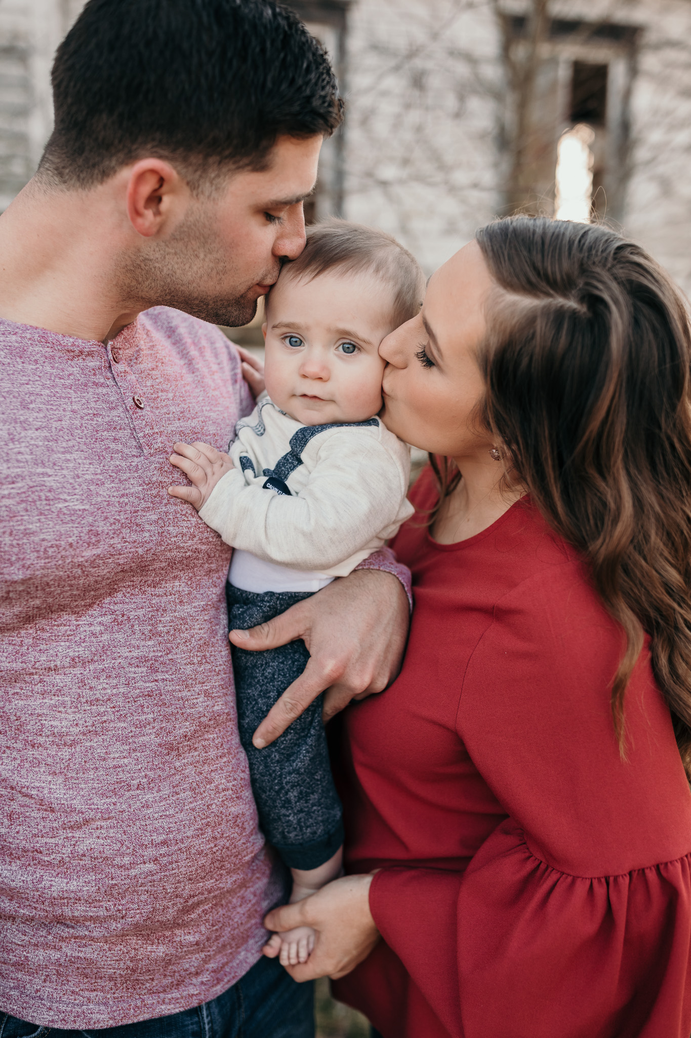 Family Photo Kissing Child