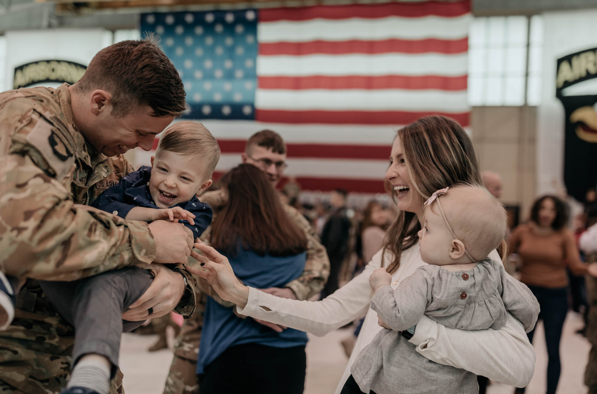 Family During Military Homecoming Ceremony