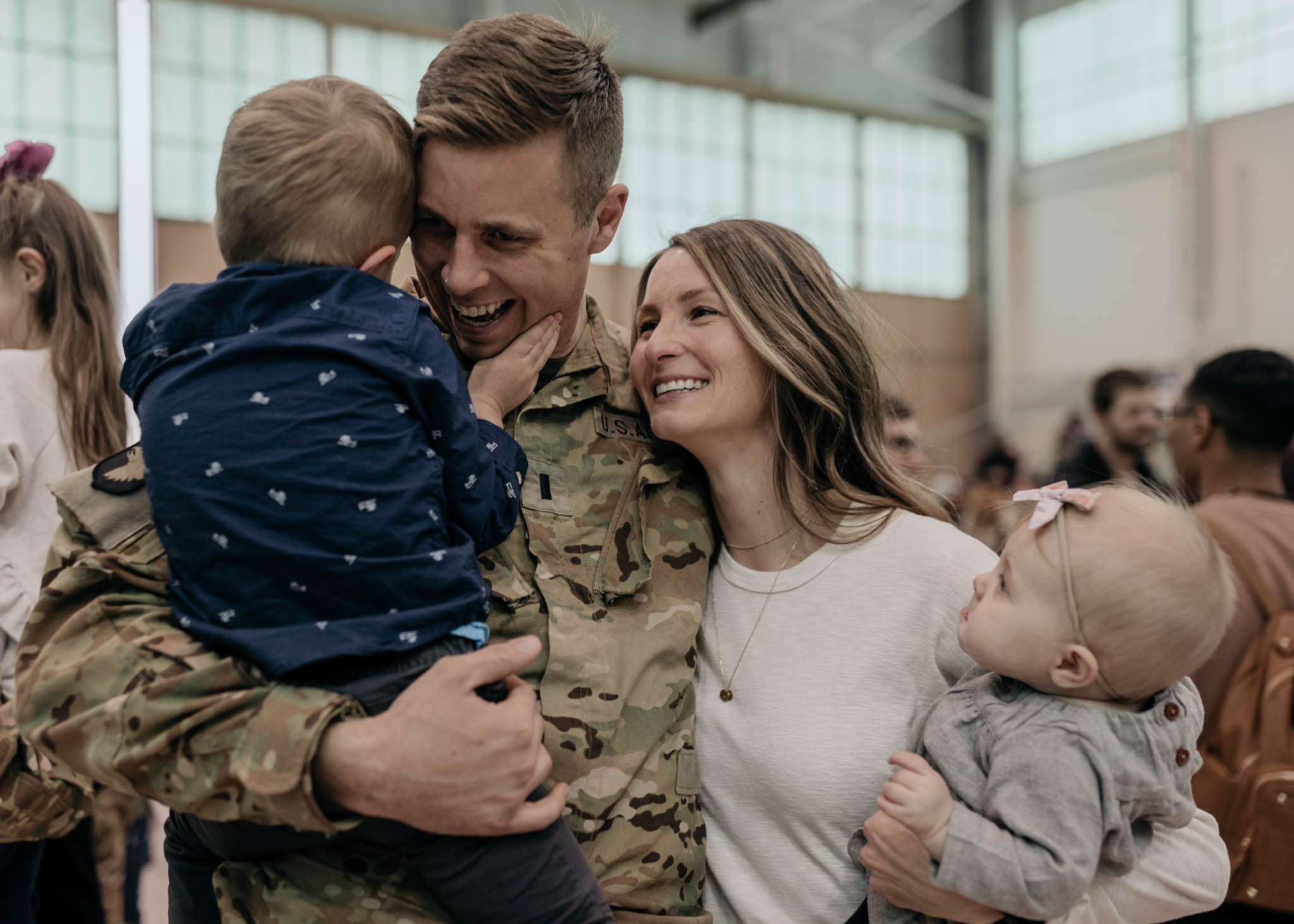Military Family Embracing