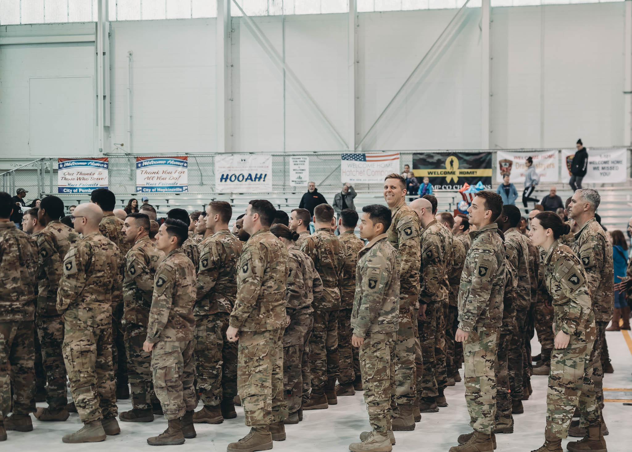 Soldier in Formation during Homecoming Ceremony
