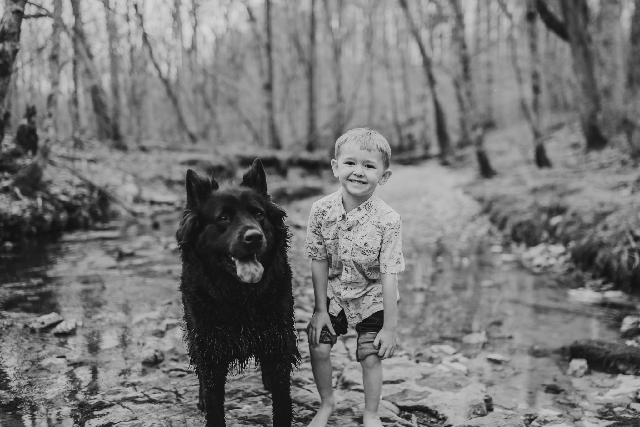 Black and White Boy with his Dog