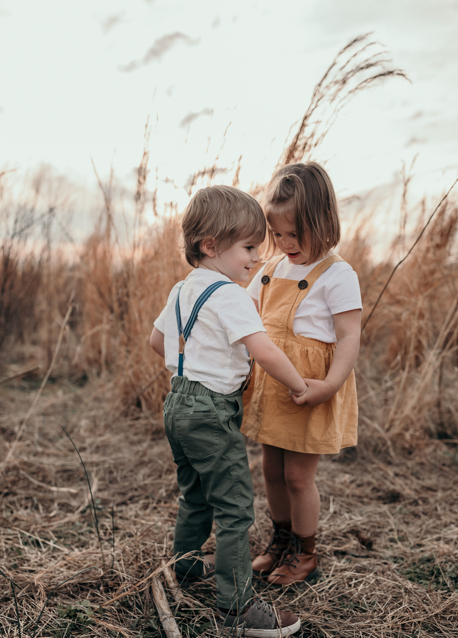 Young Boy and Girl Holding Hands