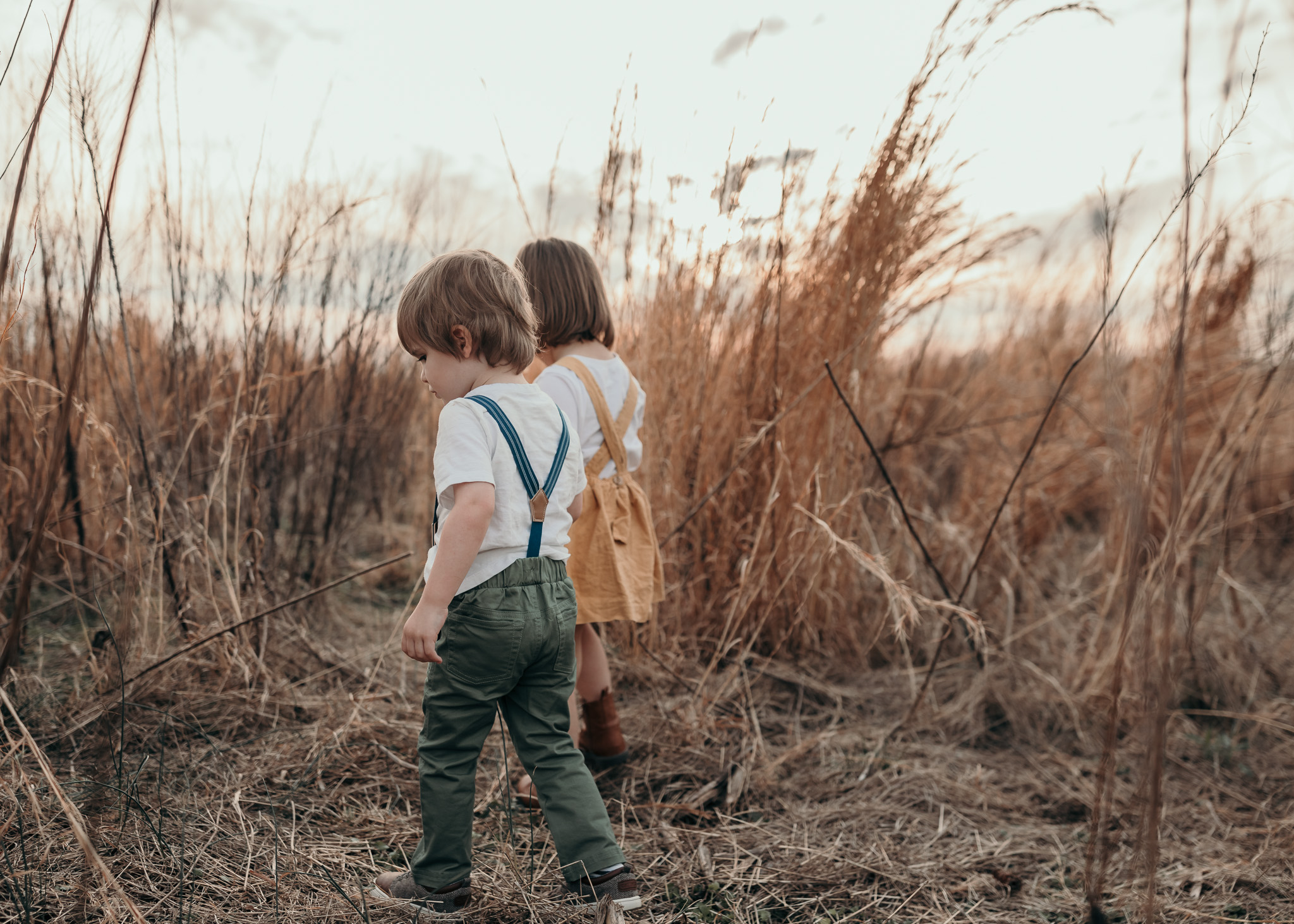Children Walking in Field