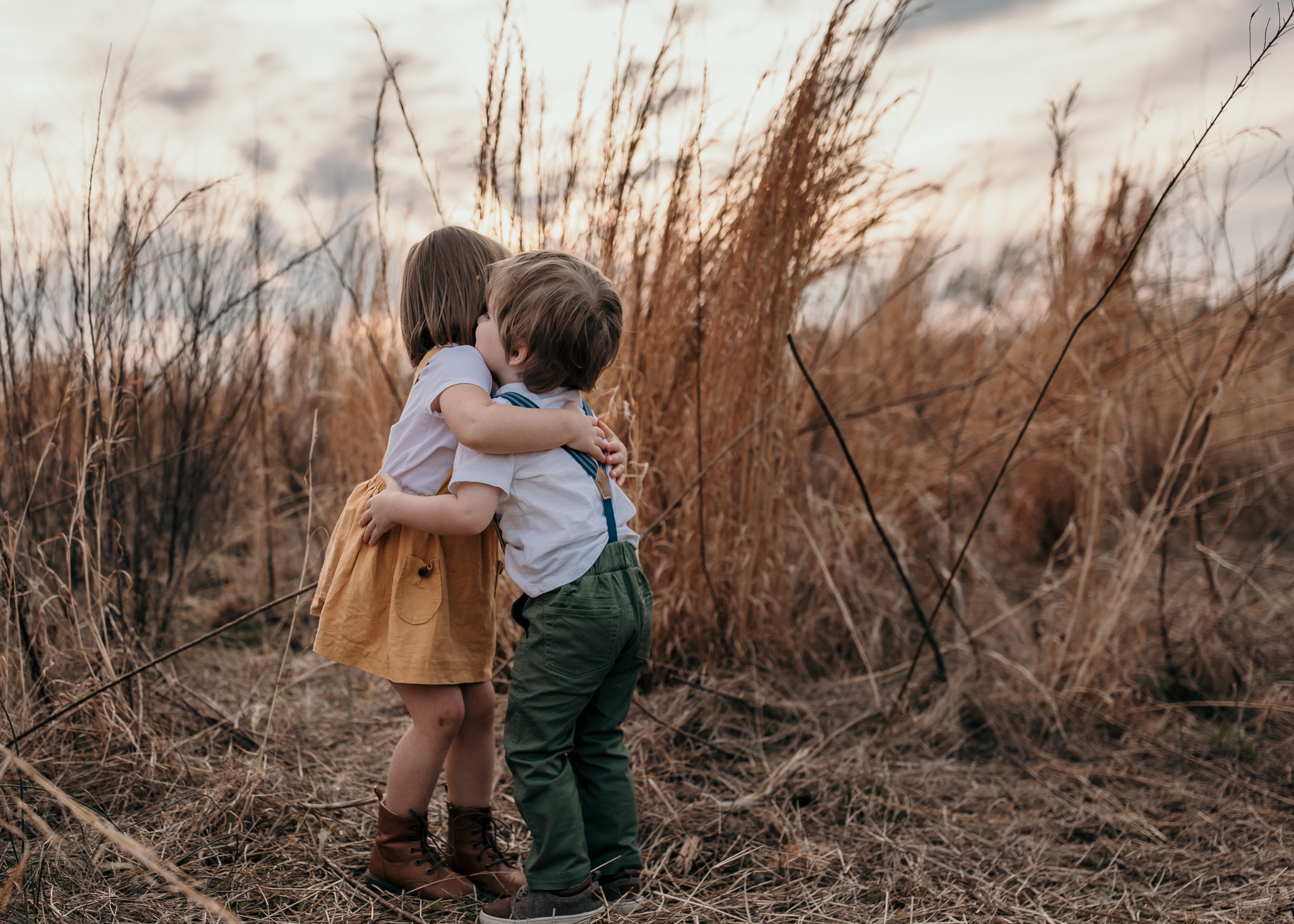 Little Boy and Girl Embracing
