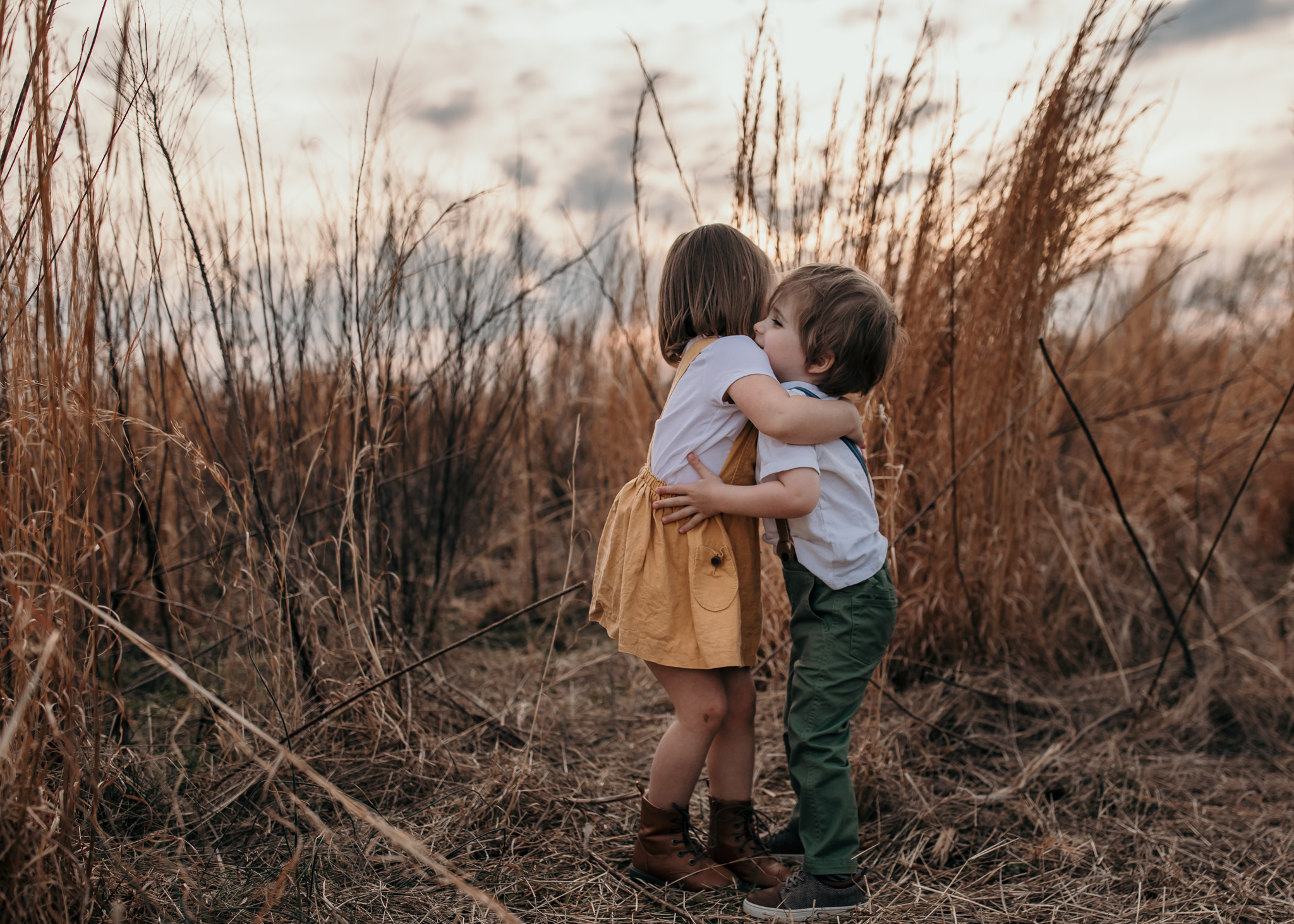 Young Boy and Girl Hugging