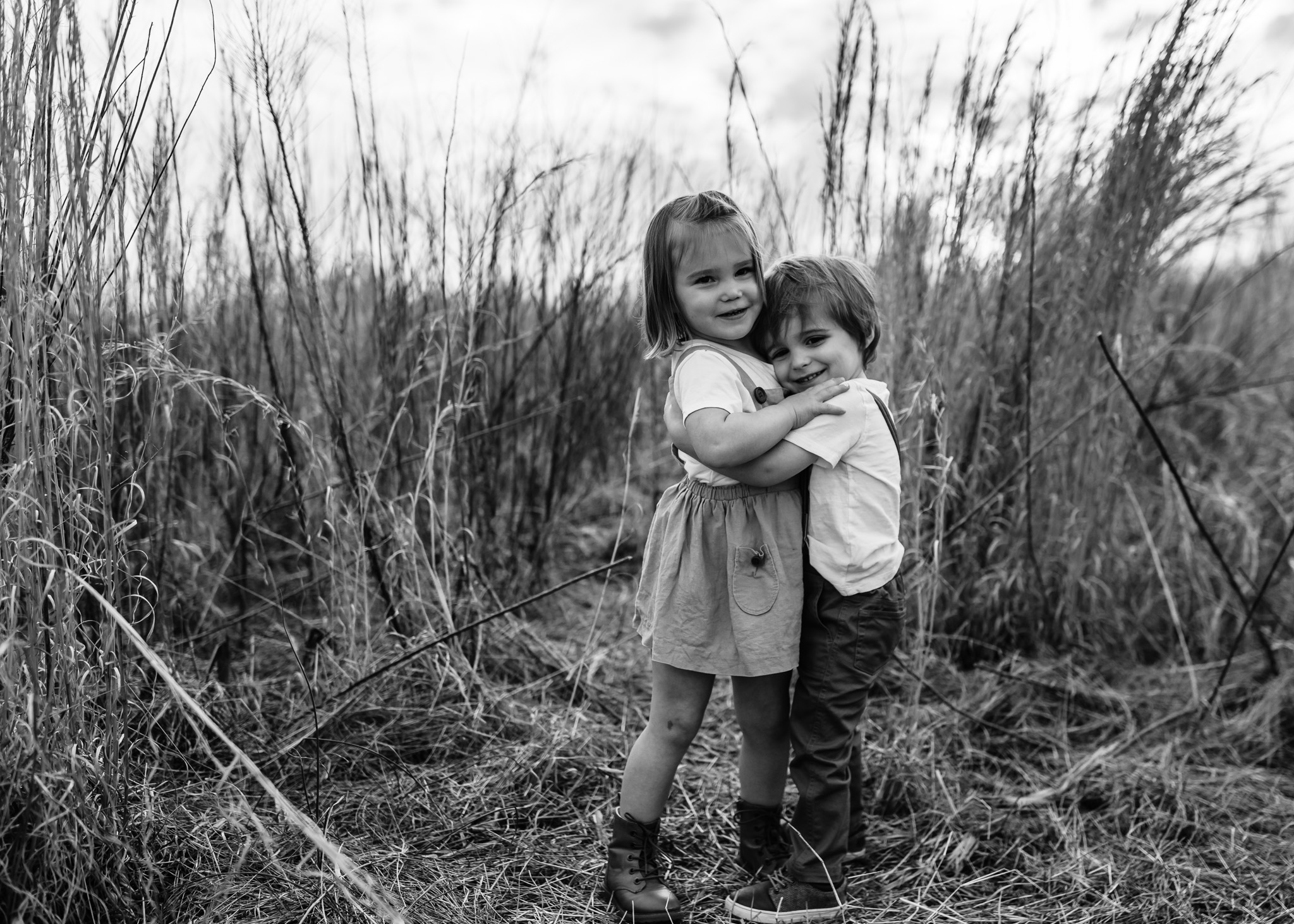 Black and White Little Boy and Girl