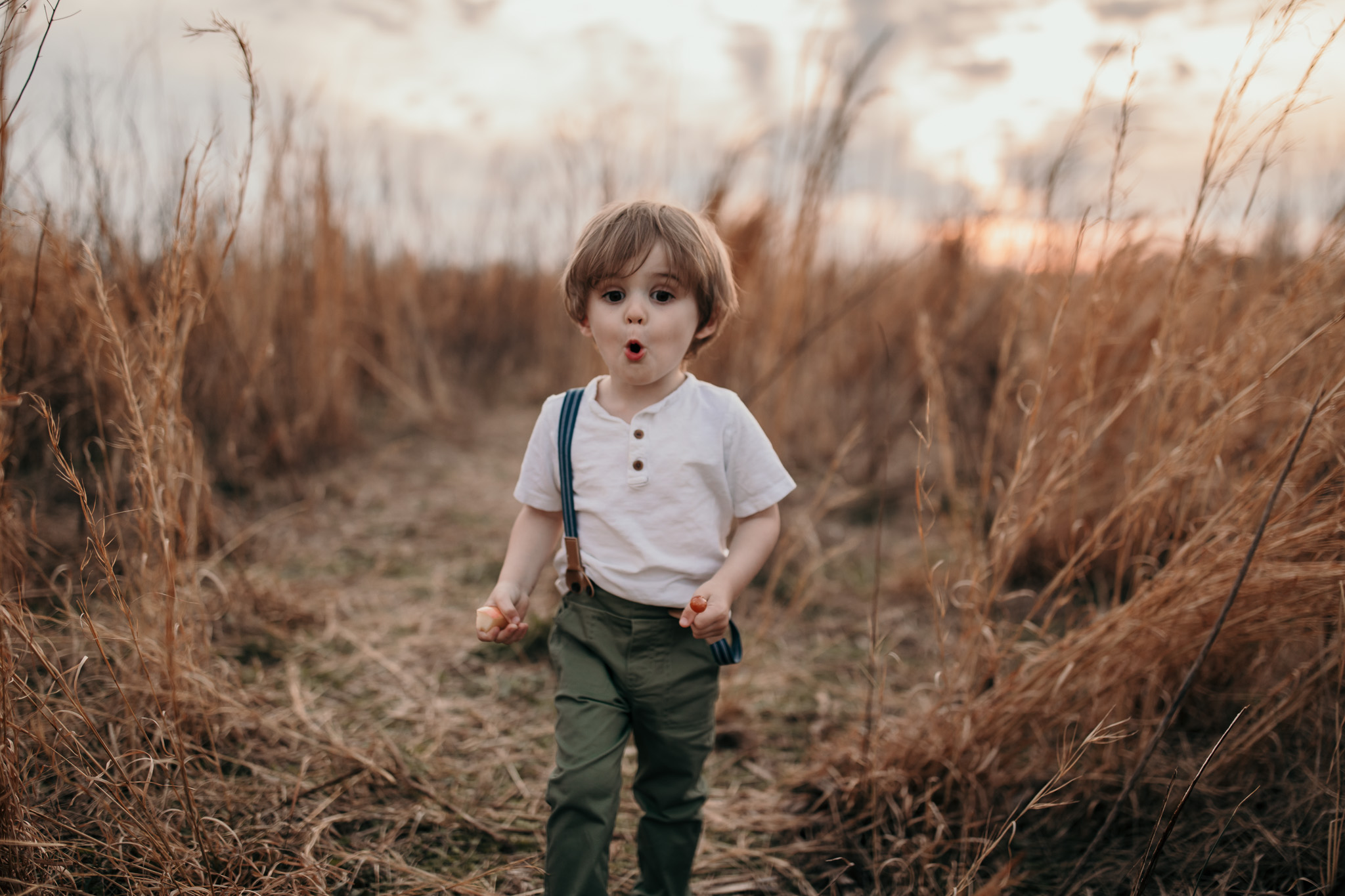 Little Boy Walking in Field
