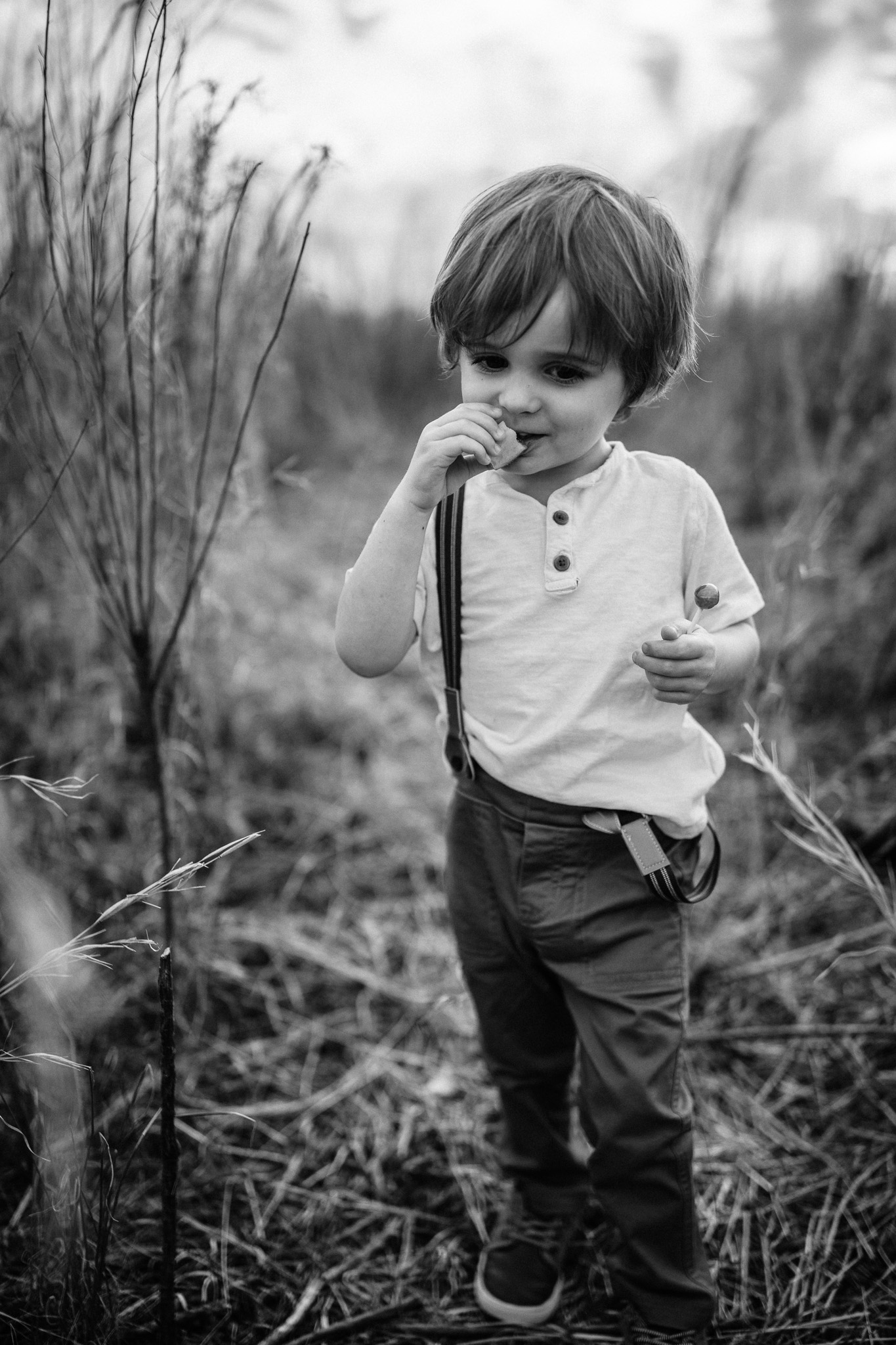 Black and White Young Boy Outside