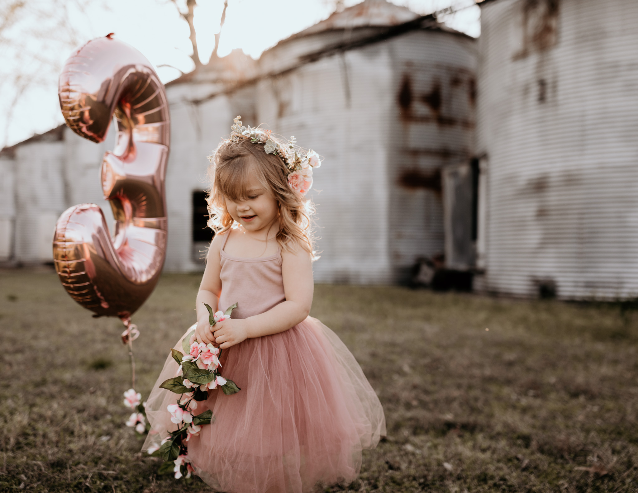 Young Girl Holding Birthday Balloon