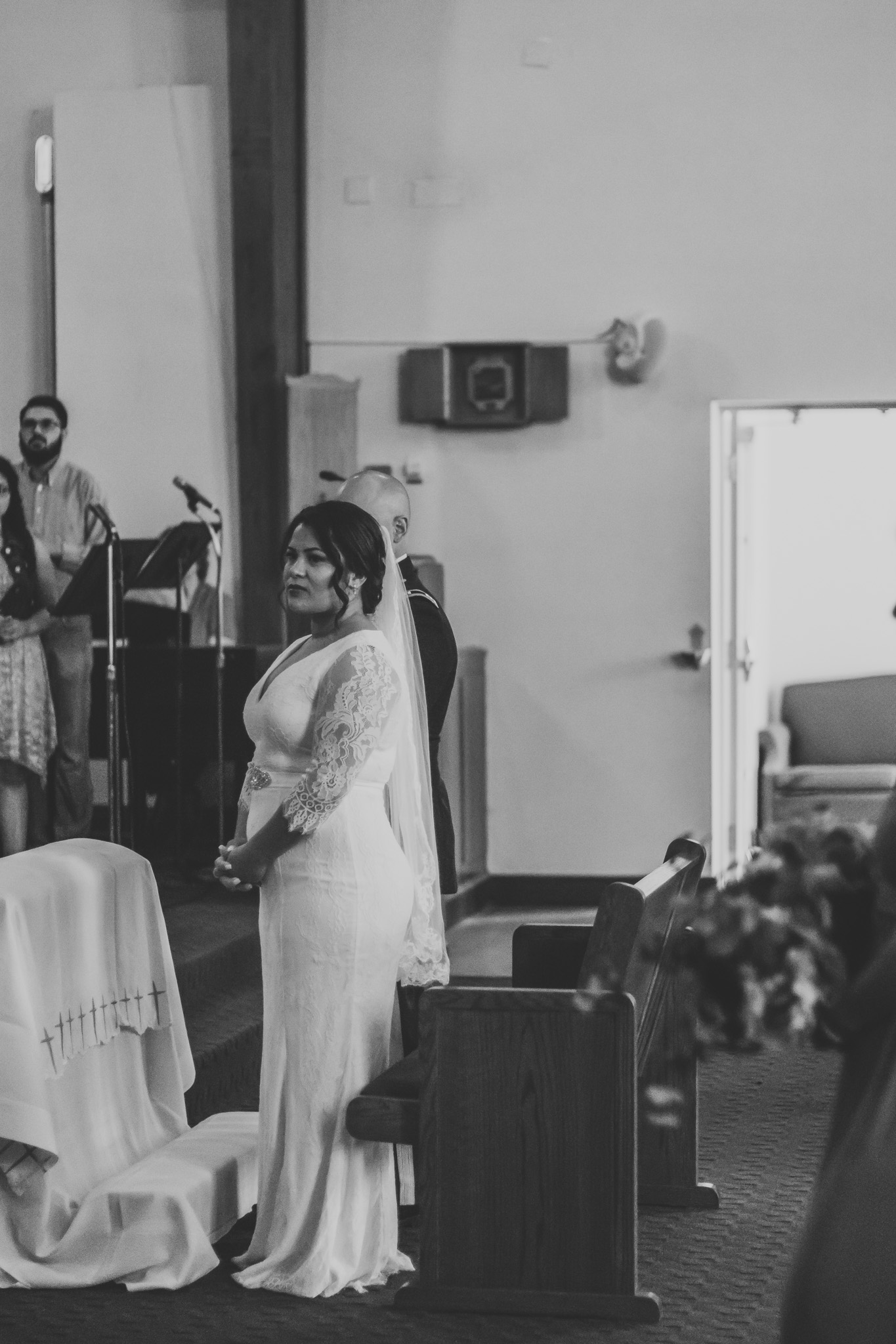 Black and White Photo of Bride