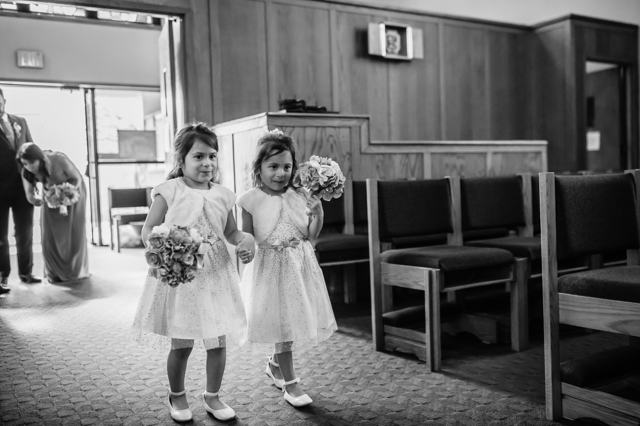 Black and White Photo Flower Girls