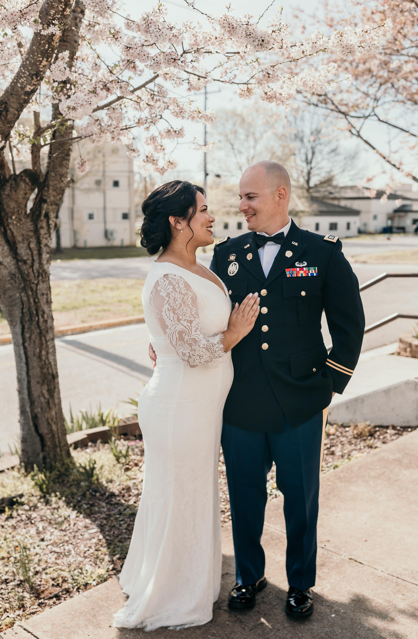 Bride Standing with her Soldier