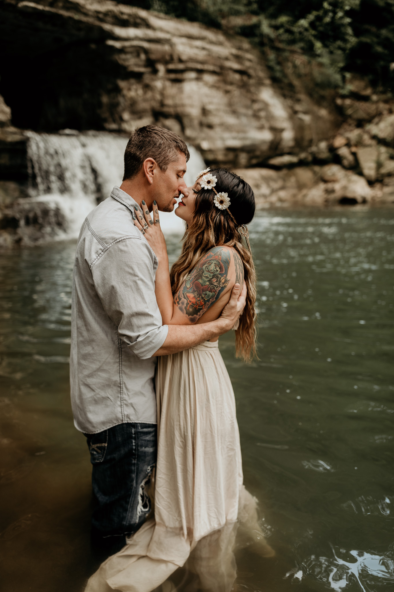 Couple standing in water sharing a special moment