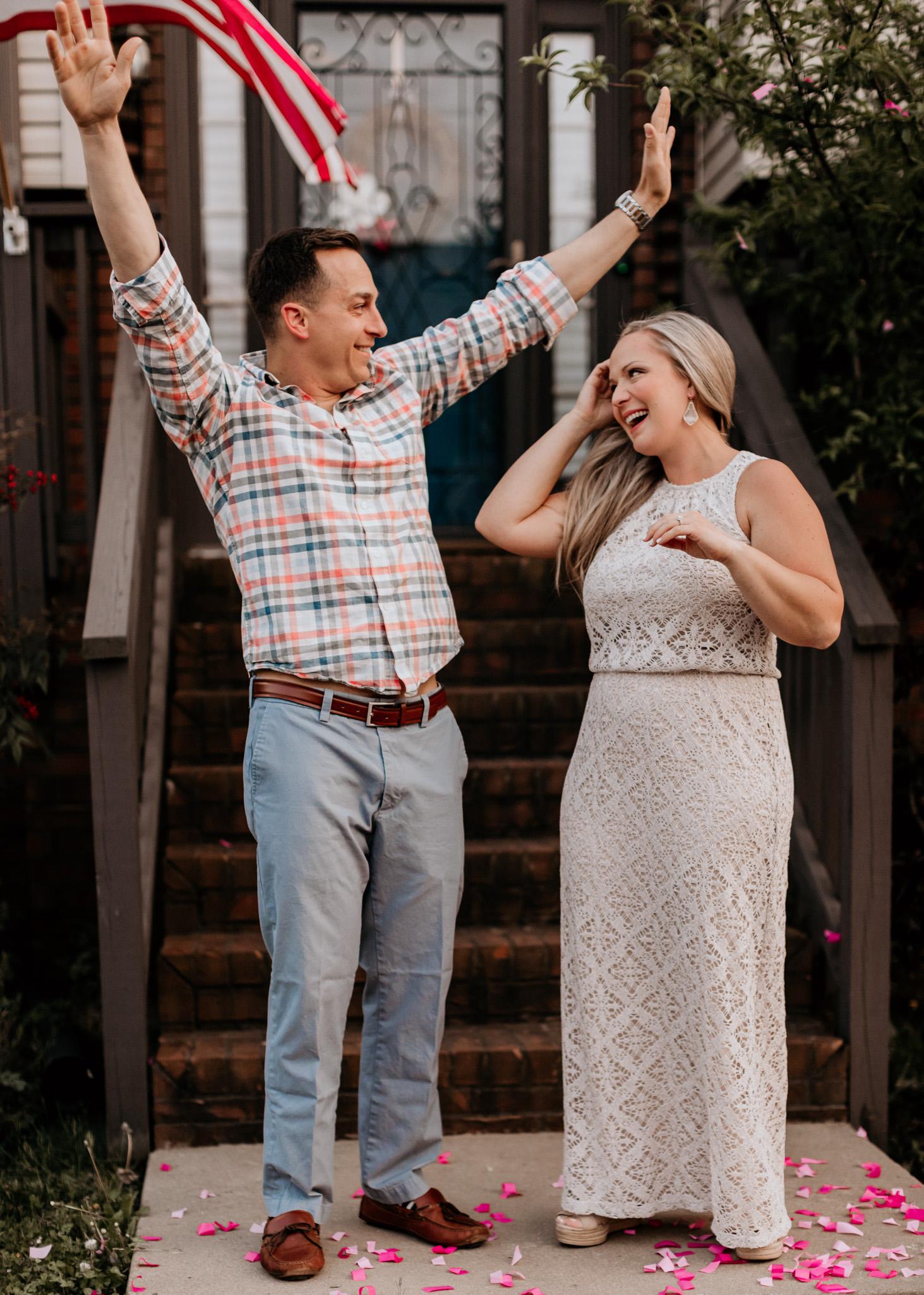dad celebrating gender reveal