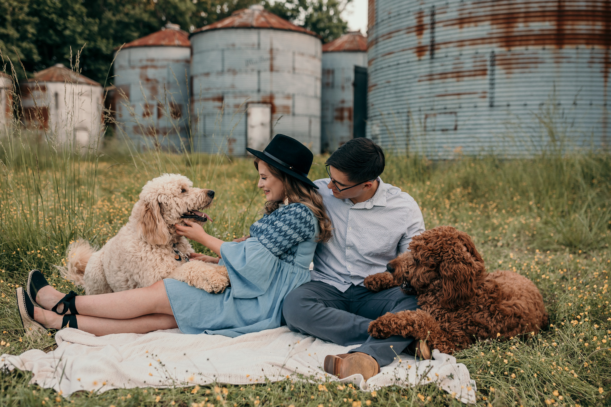 wife petting goldendoodle dogs