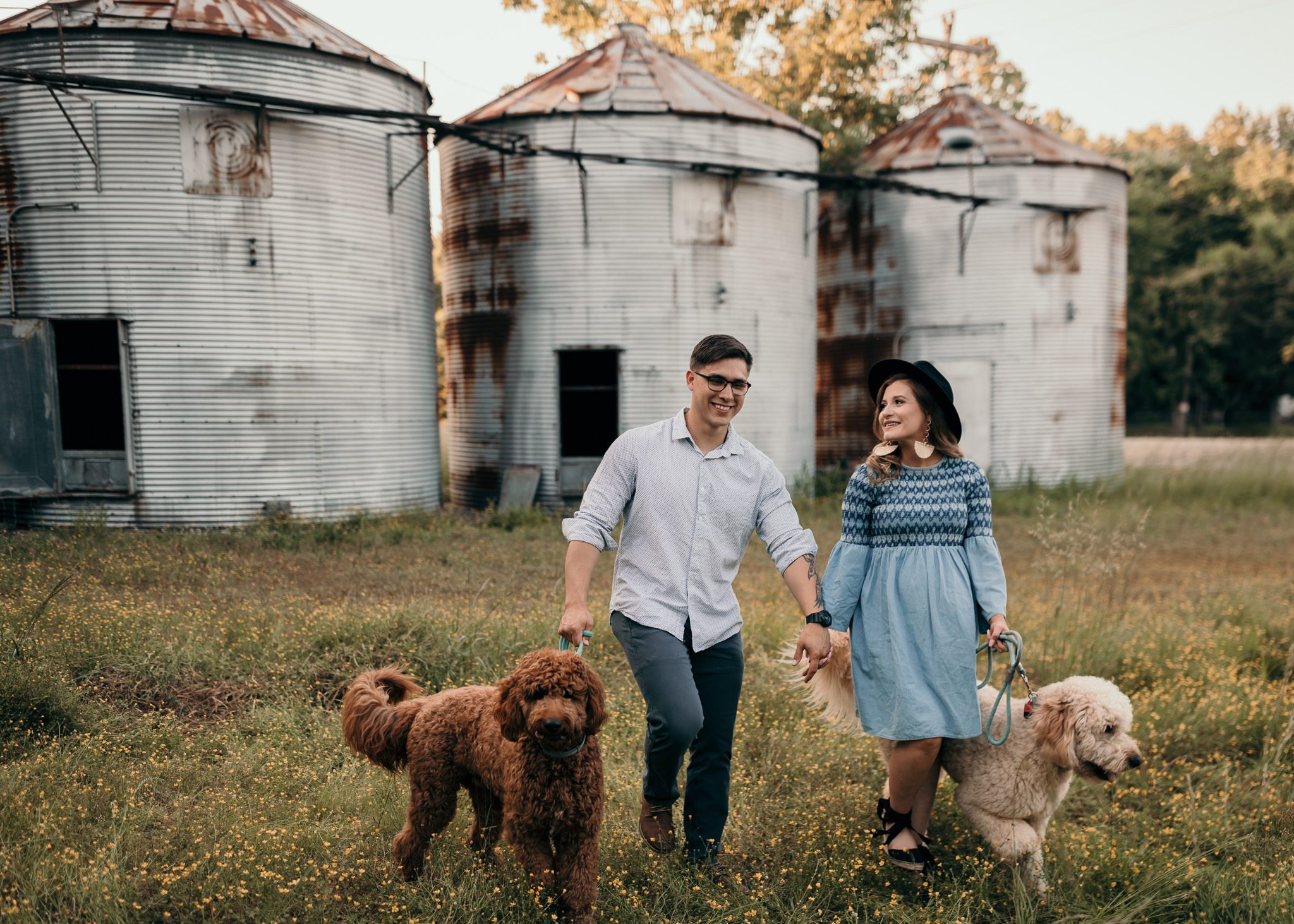 maternity photos with two golden doodles