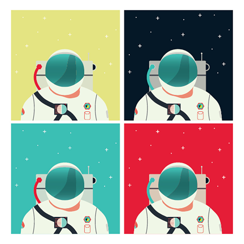 Vector Astronaut with different color backdrops created in Illustrator.