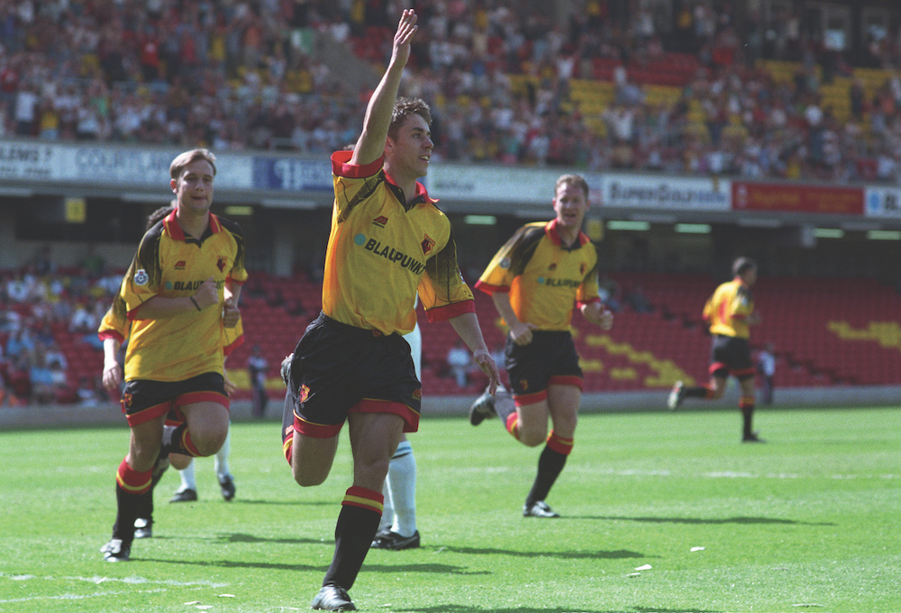 Kevin Phillips celebrates another Watford goal in the 1995-96 season. Photograph by Alan Cozzi.