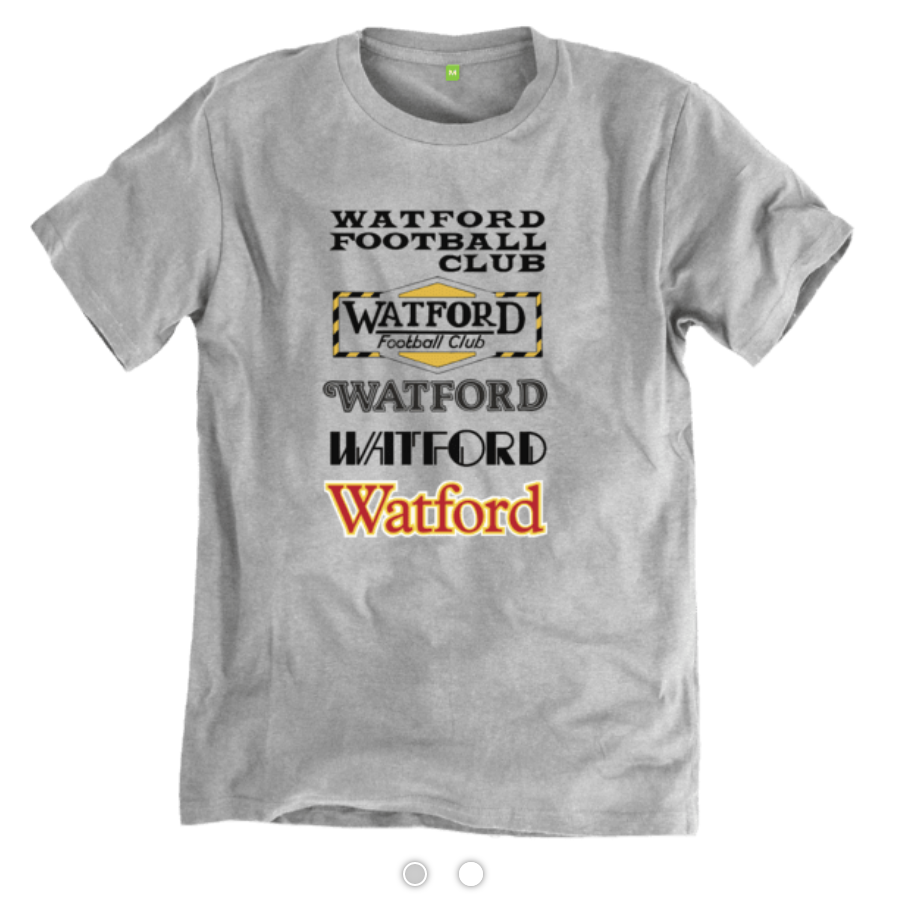 Gold & Black's Programmes T-shirt features the changing typography from the cover of Watford's programmes from the late 1960s to the mid 1980s.   Visit the Gold & Black store.