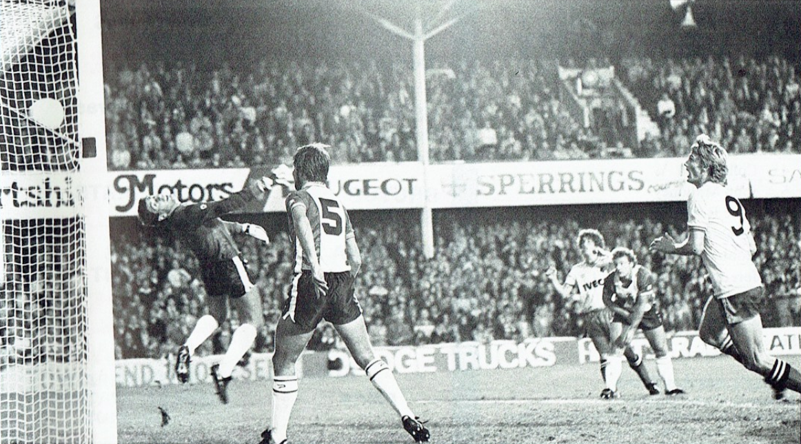 Callaghan scores one of his two goals at The Dell. Photo from the WatfordFC programme.