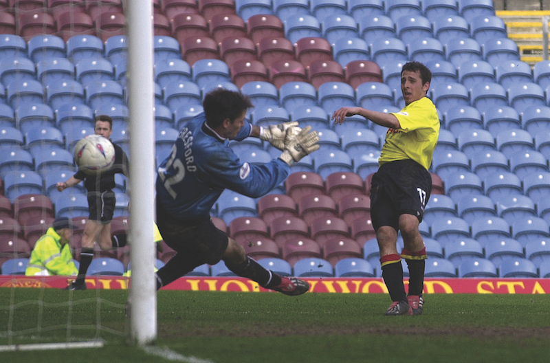 Michael Chopra hits the first of his four goals at Turf Moor. Photograph by Alan Cozzi.