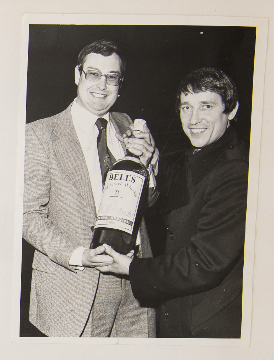 Graham Taylor is presented with one of his many manager of the month awards.    Photo courtesy of the Taylor family.