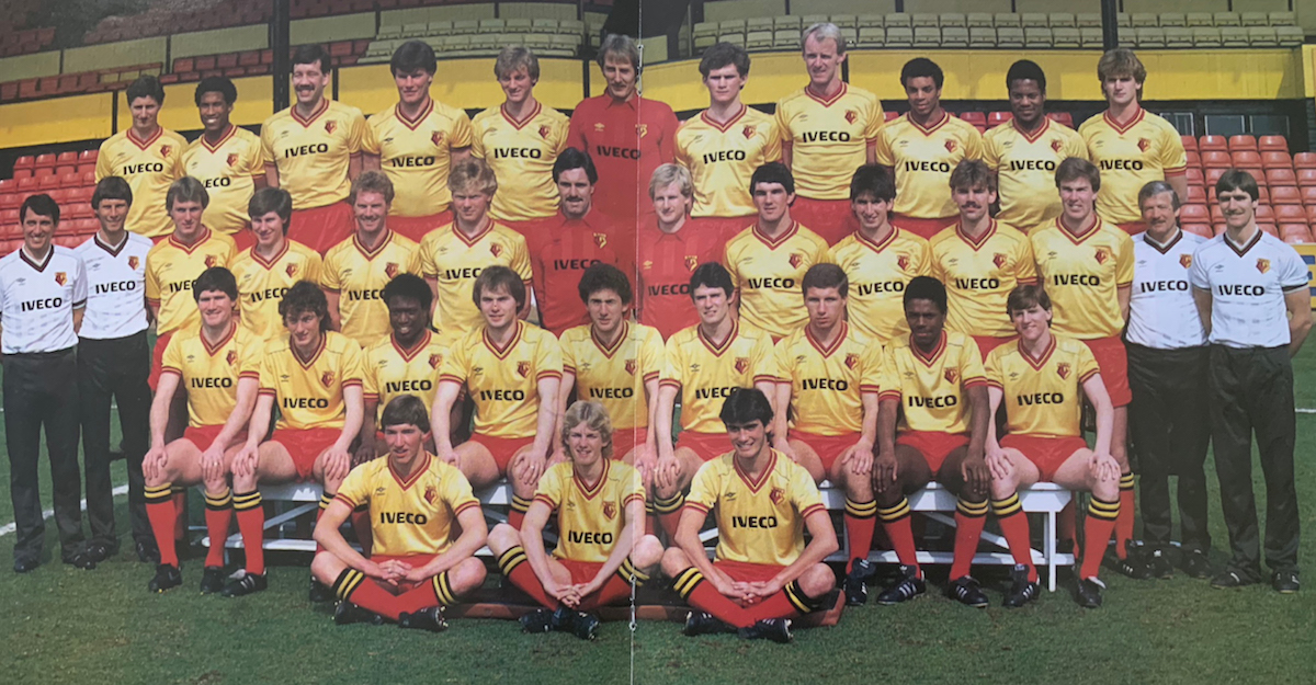 The 1984 squad, from the official FA Cup final souvenir brochure.