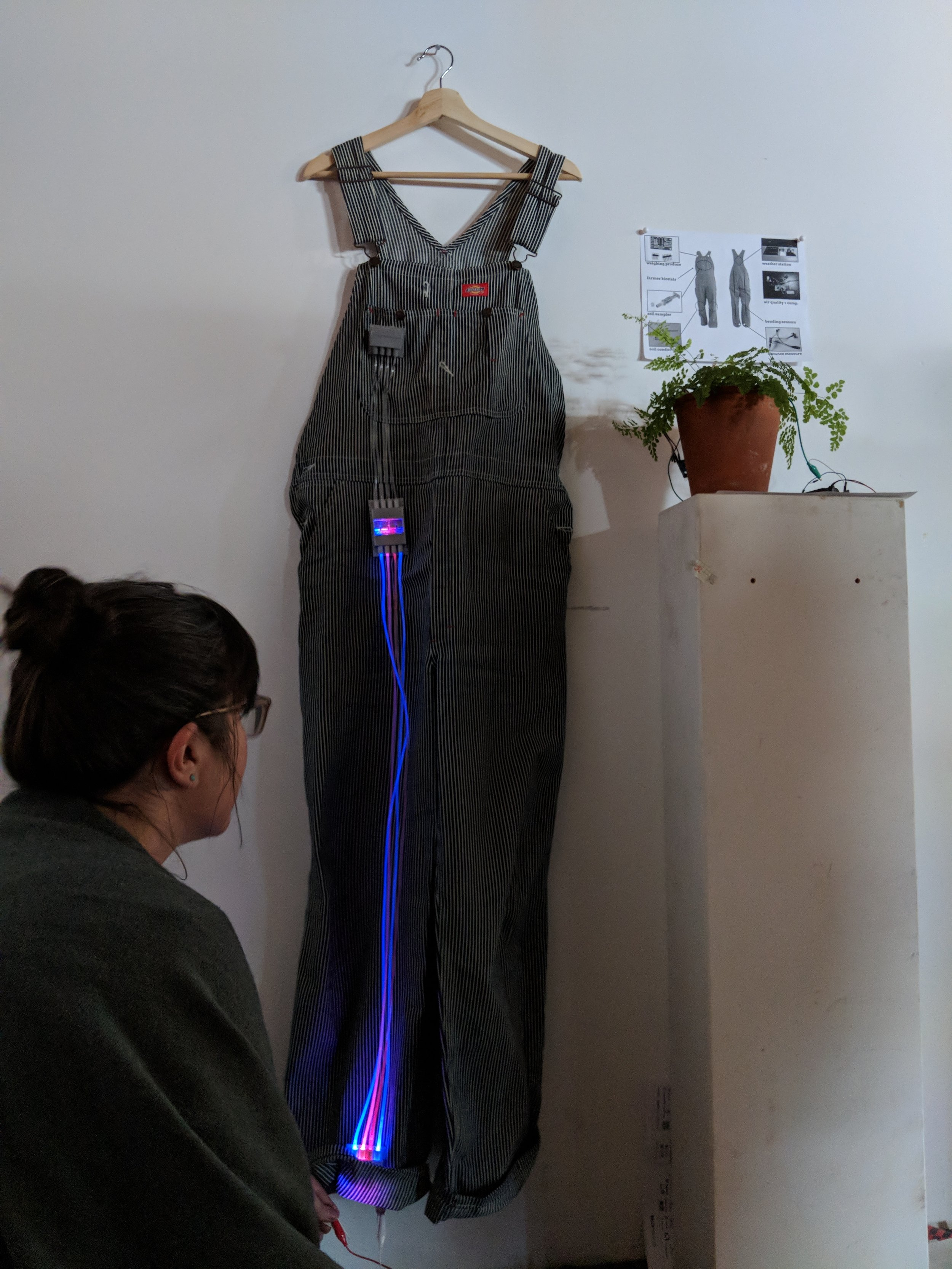 This wearable overall for farmers is intended to light up using a humidity sensor, when the farmer gets in contact with the wet soil.