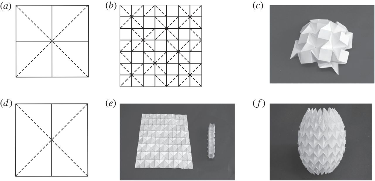 The pattern used in the initial explorations for its apparent kinematic qualities. The waterbomb is one of the most widely used origami patterns.   From   Chen Y, Feng H, Ma J, Peng R, You Z. (2016) Symmetric waterbomb origami. Proc. R. Soc. A 472: 20150846 .