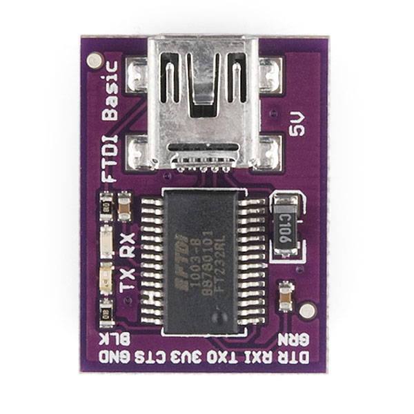 Here's a top-view image of the LilyPad FTDI adapter - as you see TX and RX pins are the second and third to the right - so that's where your HC-06 module's TX and RX pins need to go.
