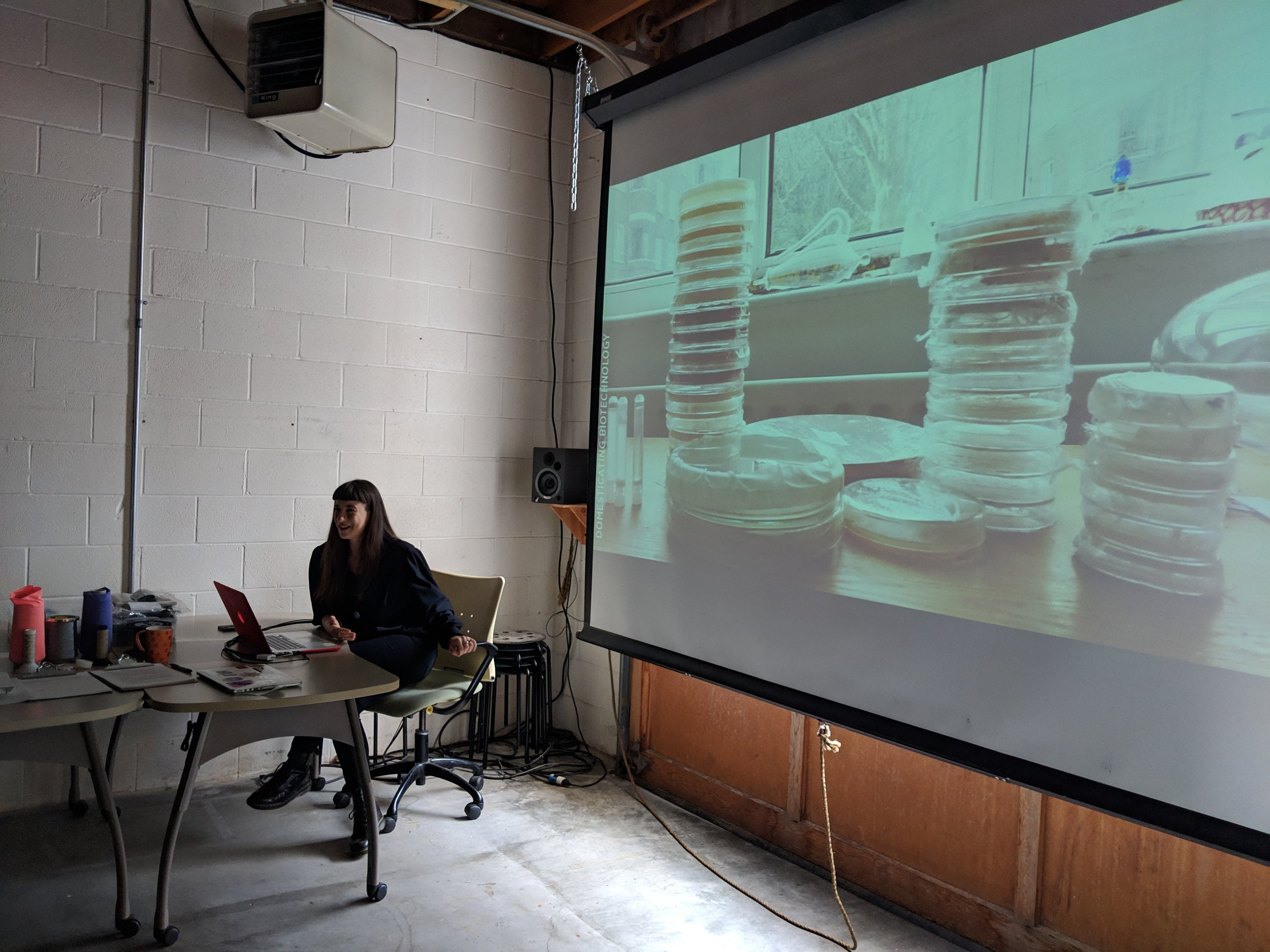 Giulia describing the process of growing kombucha leather in her apartment in London during her MFA at Saint Martins College.