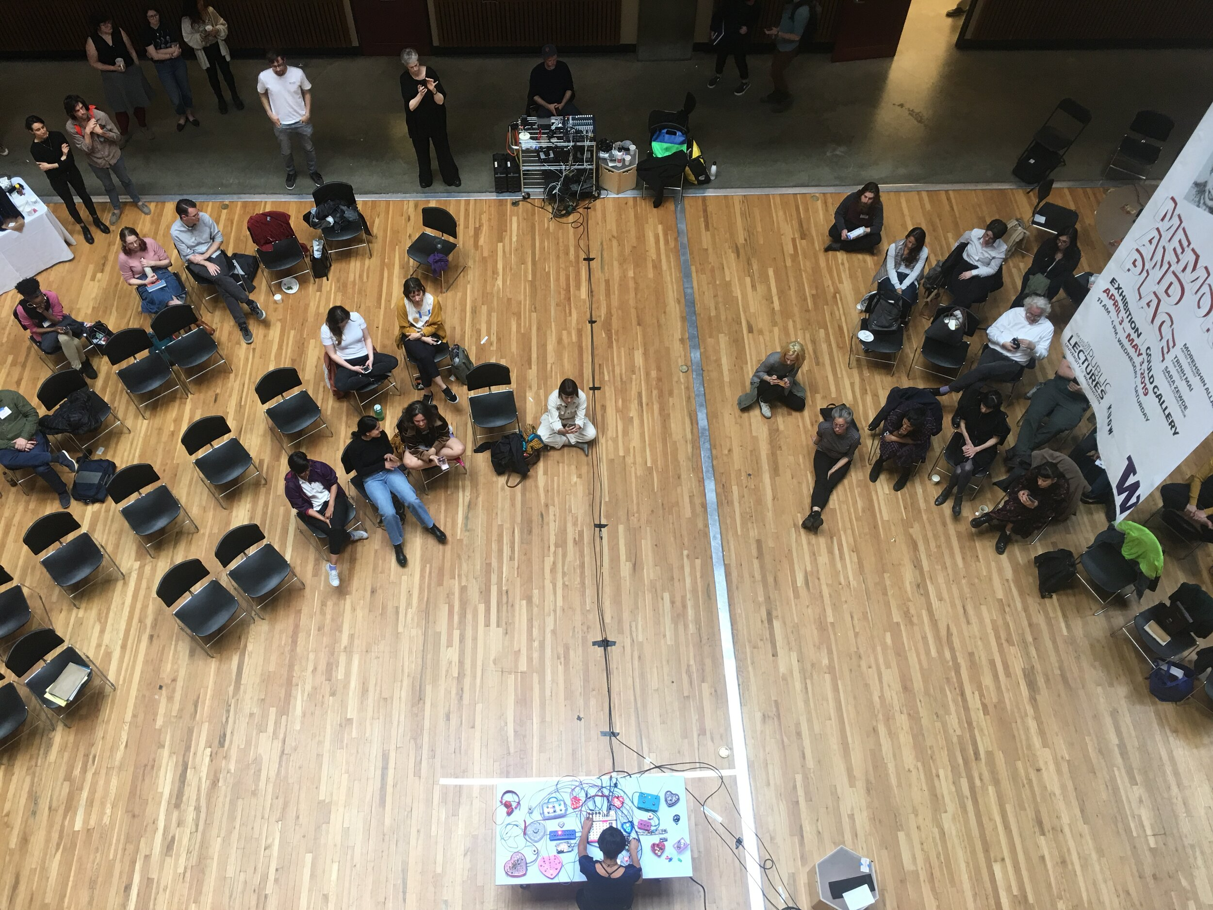Top view of Gould Hall's Atrium during Constanza Piña' s performance